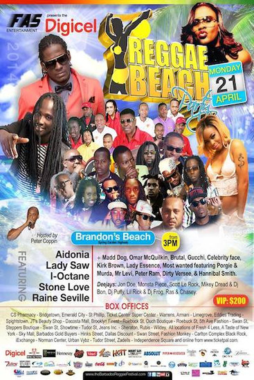 Barbados Reggae Beach Party 2014