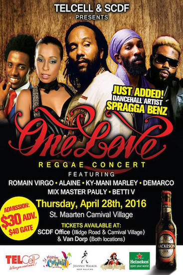 One Love Reggae Concert St. Maarten 2016