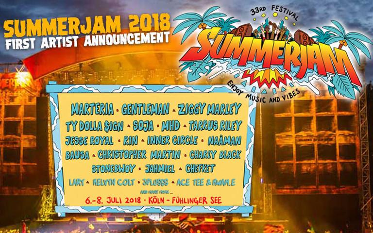 Announcement: SummerJam 2018 with Gentleman, Ziggy Marley & SOJA