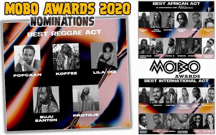 MOBO Awards 2020 Nominations... Koffee, Buju Banton, Protoje, Popcaan