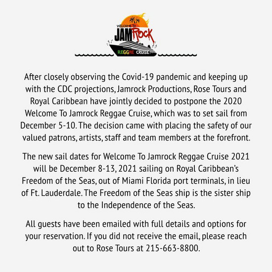CANCELLED: Welcome To Jamrock Reggae Cruise 2020 #2