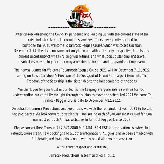 POSTPONED: Welcome To Jamrock Reggae Cruise 2021