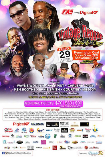 Barbados Vintage Reggae Show & Dance 2016