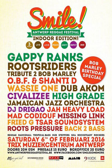 Smile! Antwerp Reggae Festival Indoor Edition 2016
