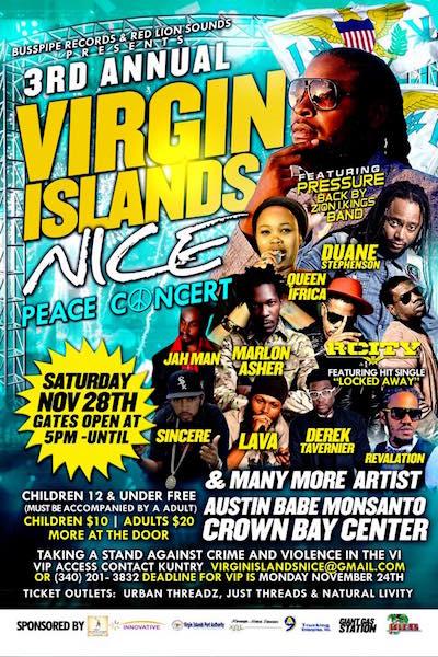 CANCELLED: Virgin Island Nice Peace Concert 2015