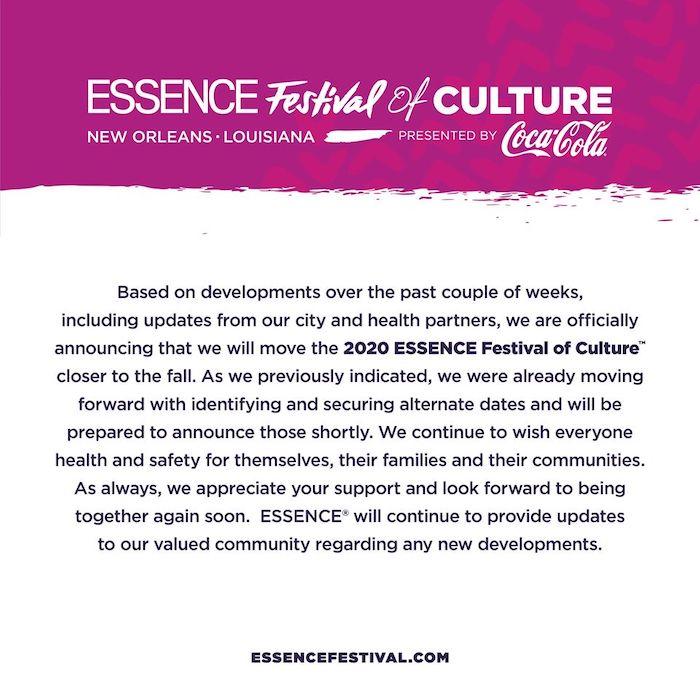 POSTPONED: Essence Music Festival 2020