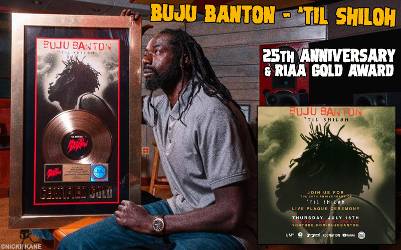 Buju Banton's 'Til Shiloh Album Certified RIAA GOLD & 25th Anniversary
