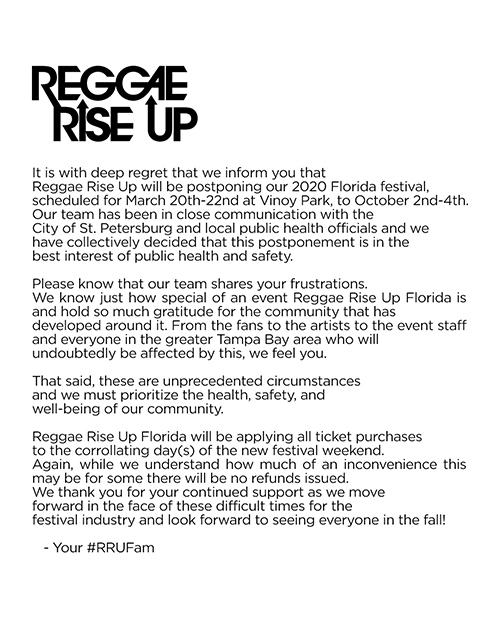 Postponed: Reggae Rise Up - Florida 2020