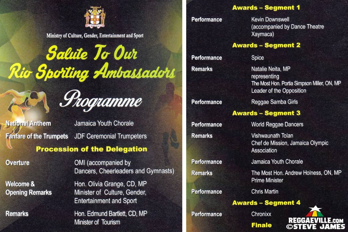 Jamaica Salutes The Rio Sports Ambassadors in Kingston, Jamaica